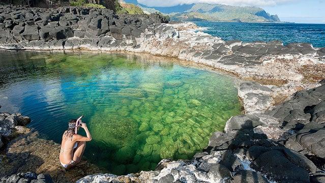 Hawaii Kauai Princeville Queens Bath snorkel
