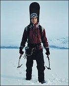 """""""I just want to swing 'em"""": Koch in full quest mode at Jackson Lake, in Grand Teton National Park, not far from the site of his near-fatal avalanche accident in 1998"""