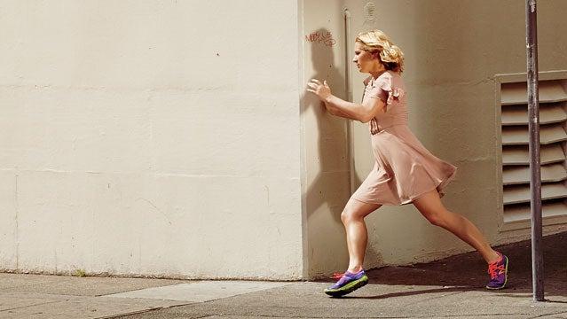 Dress by Bar III ($79); Minimus 10v2 Trail shoes by New Balance ($110)
