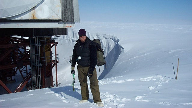 Jason Box at the abandoned DYE-2 station May 2003.