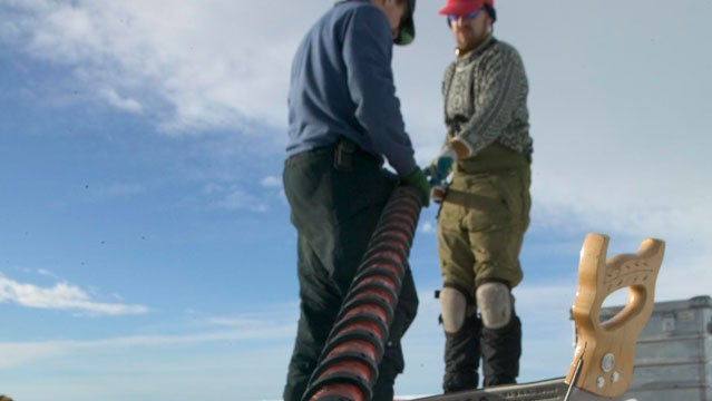 Jason Box coring Greenland snow.