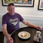 Chef Bill Smith with a slice of Atlantic Beach Pie.