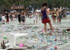 trash, beach, garbage, dirty, people, palm trees,