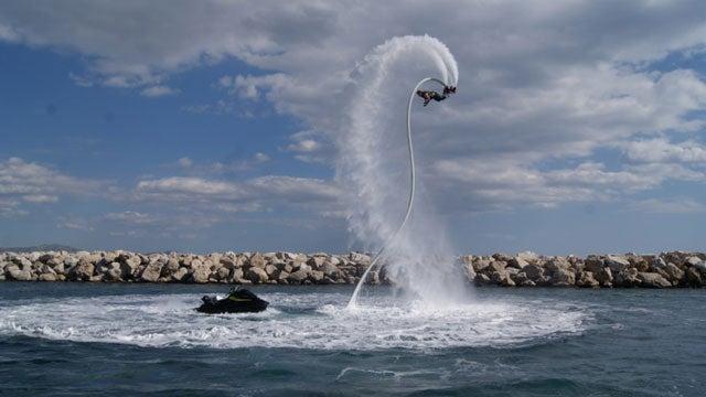 The intense sport of flyboarding.