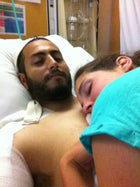 Joe Azougar recovering in the hospital.
