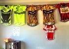 A few of Mr. Africa's winning jerseys.