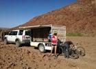 The mobile mountain-bike safari wagon in action.