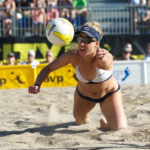 AVP Beach Salt Lake City volleyball April Ross digs deep during the 2013 AVP Salt Lake City Open.