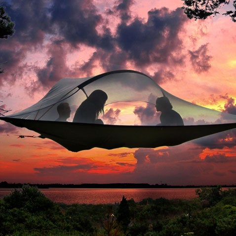 Why build a wooden tree house when you can have this ultimate suspended tent?  Read more.