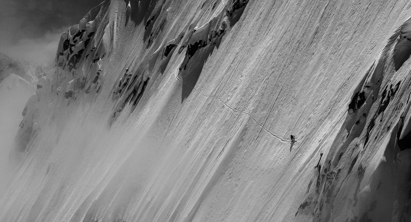 Andreas Fransson finding a steep line on the Pain de Sucre near Chamonix, France in 2013.