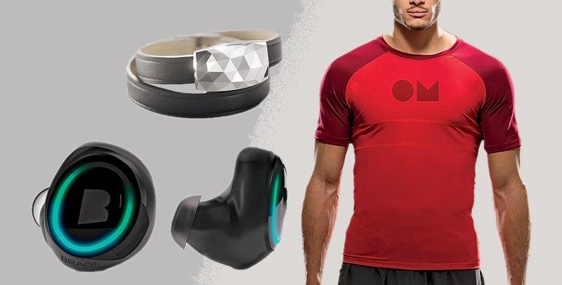 Clockwise from top left: Netatmo June Monitor; OmSignal Shirt; Bragi Dash.