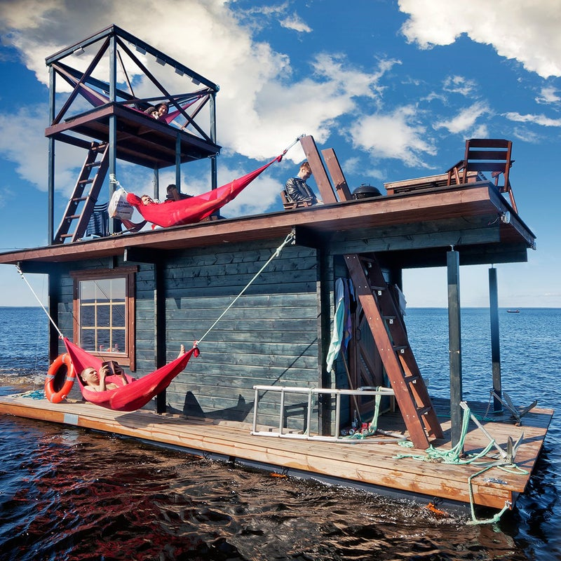 A group of friends got together to create the Saunalautta, a houseboat with bunk space for five and sauna space for up to 15 (depending on how cozy a steaming experience you're comfortable with). Read more.