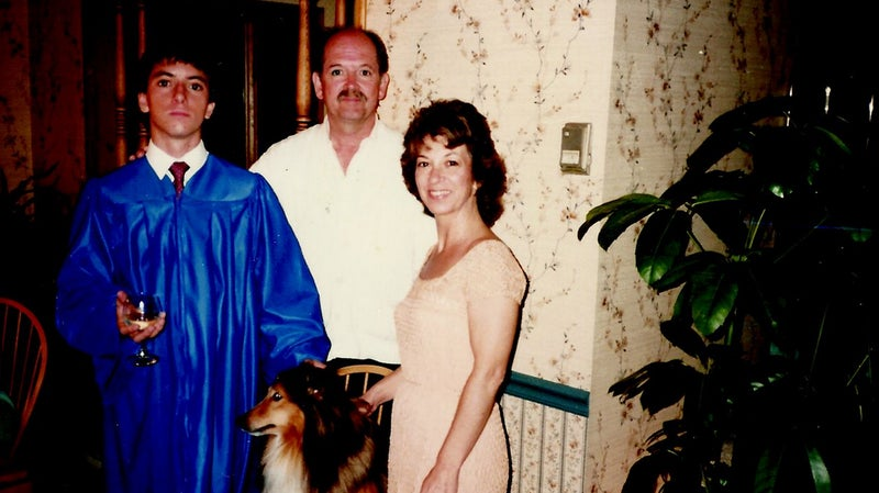 Walt and Billie with Chris after his high school graduation in 1986.