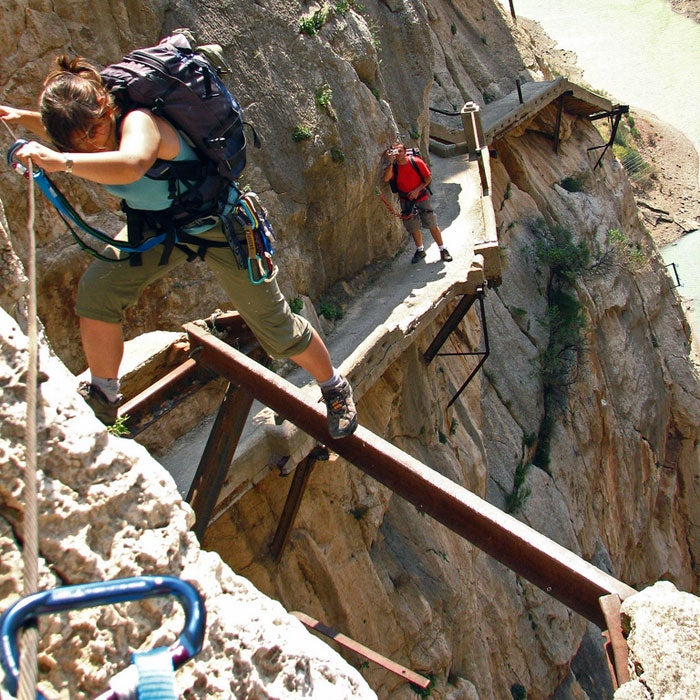 In the El Chorro Gorge in Spain's Malaga province, the Caminito del Rey (Little King's Path) hangs 100 feet up on sheer cliffs. The two-mile concrete and steel path was built more than 100 years ago to serve workers on a local hydroelectric plant, but over time it has become a destination for adventure seekers, especially as sections of the pathway have crumbled. Officially closed to the public, hikers still play Fear Factor on the route, which requires spidering over 10-foot sections of missing trail. Even if the state finishes a reconstruction of the path, the Caminito will still stay on the list of top vertigo-inducing trails.