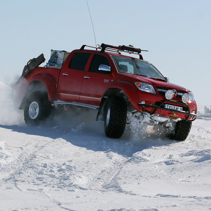 Planning to drive to the base of Denali, across the Sahara, or though Greenland? Then don't forget to schedule an Arctic Trucks modification before you leave. The company pimps out four-wheel-drive vehicles for the world's most extreme environments. Everywhere from Norway to the South Pole, search and rescue teams, military units, and police forces have used these vans for decades.   Arctic Trucks swaps in large tires and alters the car body and gearing to give the vehicle power and high performance on and off the road. With up to 38-inch tires, these modified vehicles have superior clearance and traction, but they're still road-ready. Arctic Trucks' claim to fame? Their rides can venture where no car has gone before. Unfortunately, they aren't yet available in the U.S.
