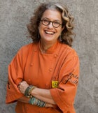 Chef Susan Feniger photographed at Mary Sue Milliken's home in Culver City, California.  The two chefs are the owners of Border Grill in Los Angeles.