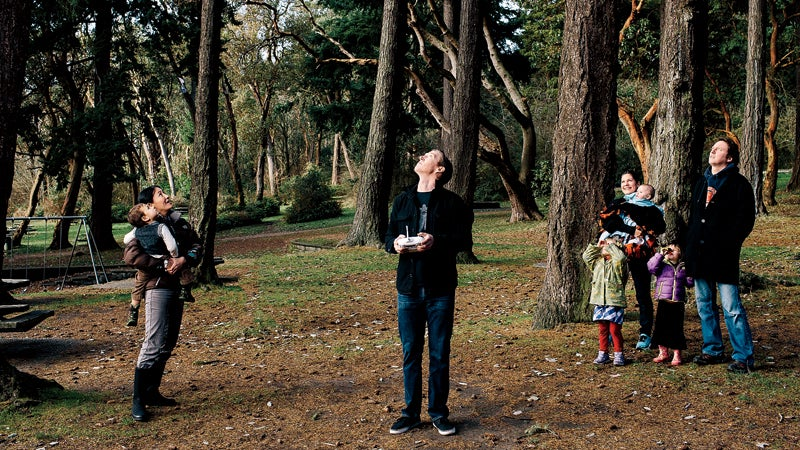 All eyes on the drone at Seattle's Lincoln Park.