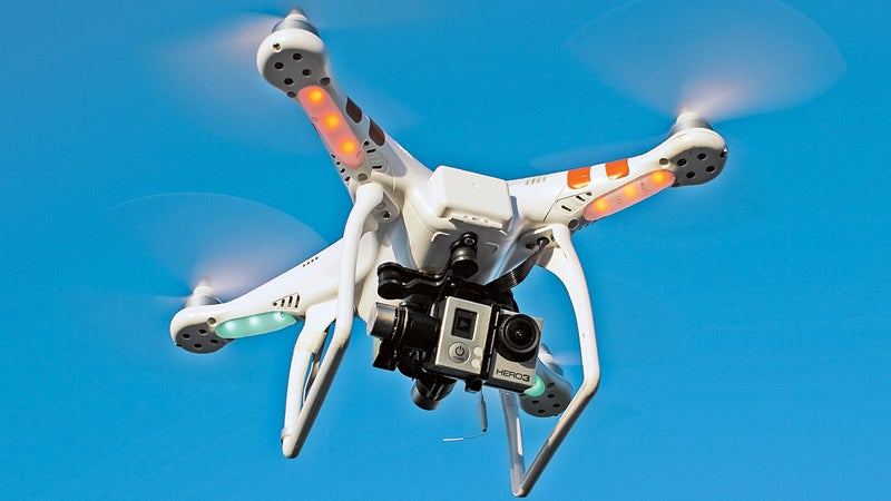The GoPro-equipped DJI Phantom in action.