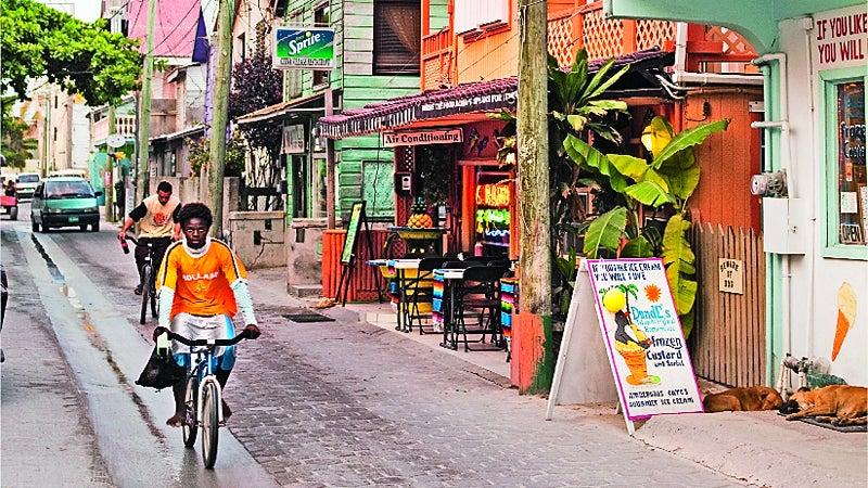 San Pedro, Ambergris Cay, Belize. Downtown San Pedro in Belize.