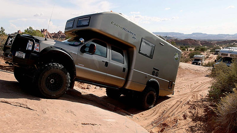 OutsideOnline shelter EarthRoamer XV-LT Lamborghini off-road campers car camping Ritz-Carlton $280 000 vehicle RV truck hotel merged chassis heavy-duty luxury stainless-steel solar-panel array heating air condition king-size bed hill climb traction wheels incline