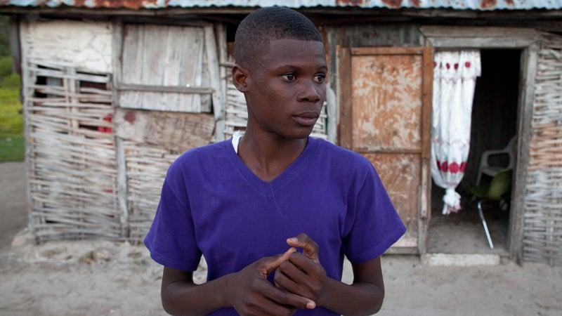 Ervenson, 17, at his home.