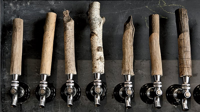 The taps at Scratch Brewing are driftwood picked up along the M Photo by Carmen Troesser