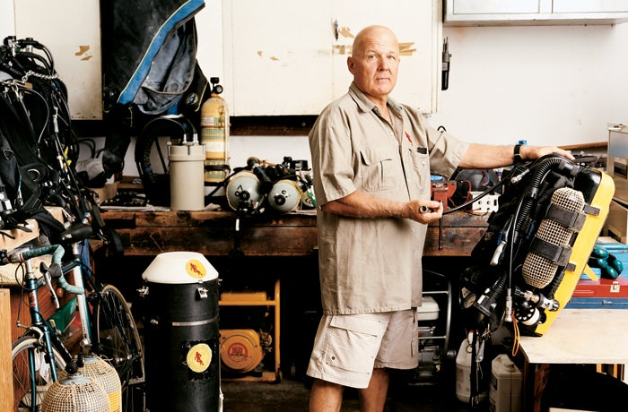 Lo Vingerling, support diver and member of the cave brotherhood, at home with his gear.