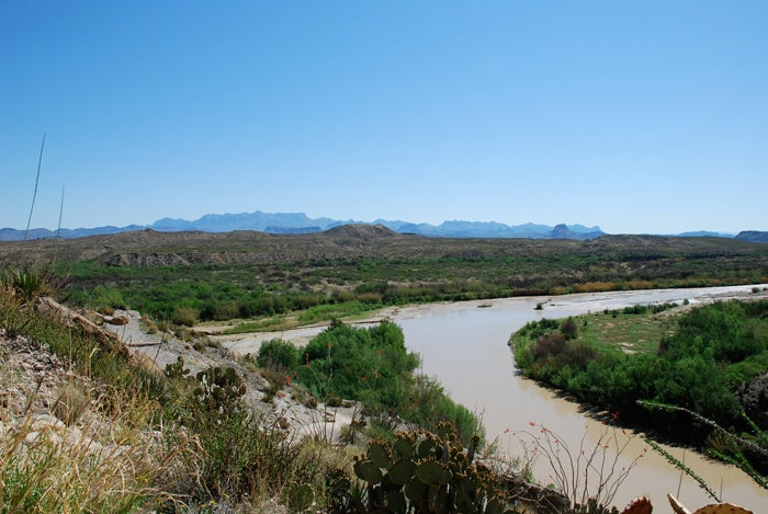 Terlingua creek coming into the Rio Grande, a popular canoeing spot for tourists who come to Big Bend National Park. They often stop through Terlingua while they're in the area.