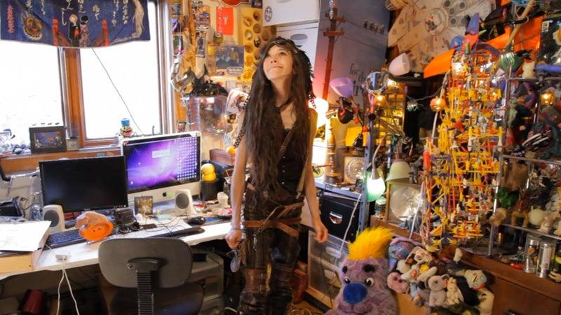 Zina in her room.