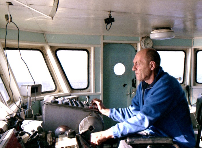 Captain Vitali Zhdanov, who must navigate constantly-changing channels along the delta.