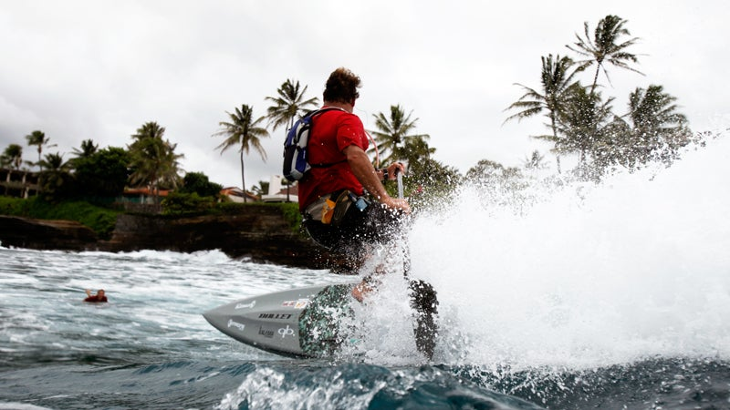 Dave Kalama is no stranger to the Molokai2Oahu. Here he is going backside on a wave during the 2012 race.