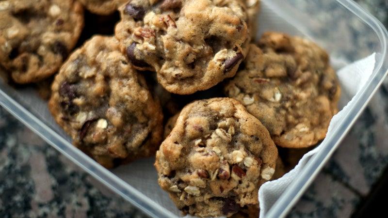 baked goods baking chocolate chip oatmeal cookies cookies food