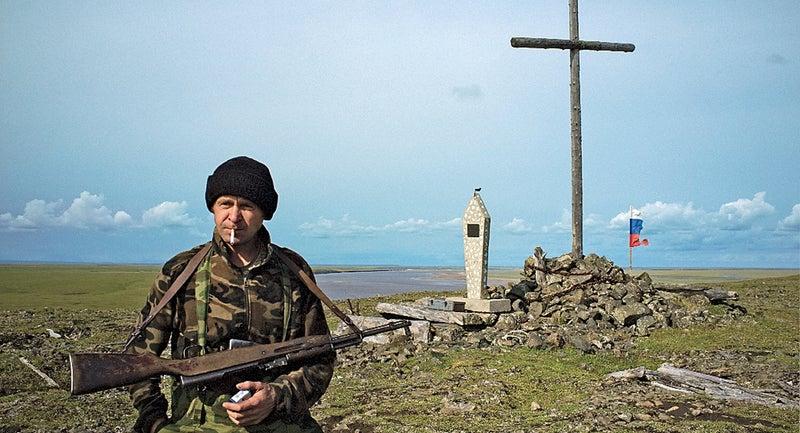 Andrey Kryukov at the Jeannette memorial.