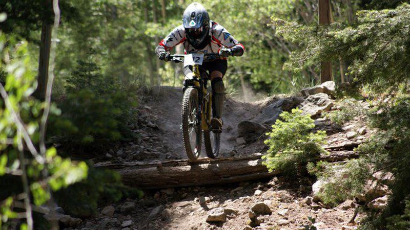 Michelle Pederson flies down Pajarito Mountain.