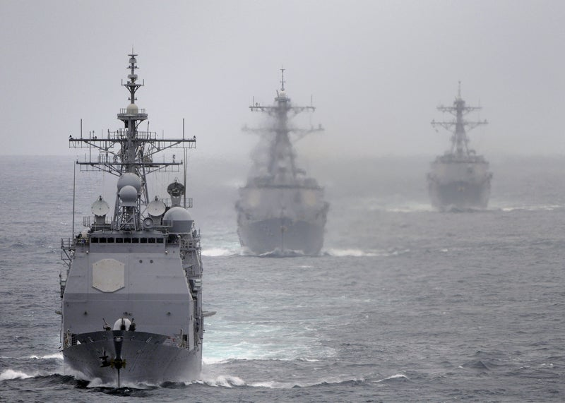 The sonar-equipped USS Cape St. George, USS Momsen and USS Sterett en route during a training exercise.