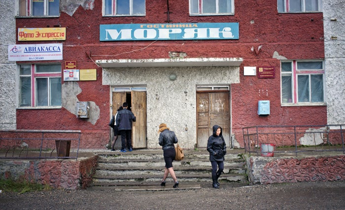 Tiksi hotel. Though harsh weather and remoteness has left Tiksi mostly abandoned, it had some golden years during the Cold War.