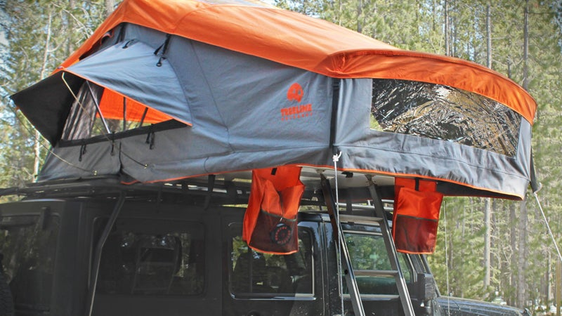 treeline outdoors rooftop tent gear camping outside