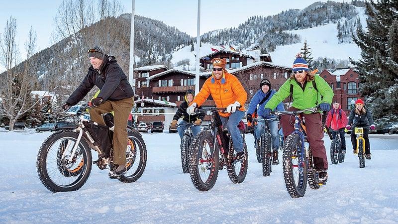 Aspen Colorado Winter bike celebration cycling fat tire festival fun goofy winterskol