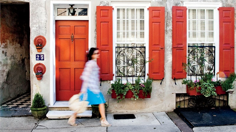 charleston south carolina sc america american travel south facade shutters windows red door street outside best towns ever
