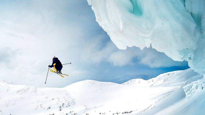 ; colorado; ski ; CO COPPER MOUNTAIN Master list 11-08 SKI SLOPES SKIERS cornice horizontal jumping mountains skier skiing snow united states united states of america winter