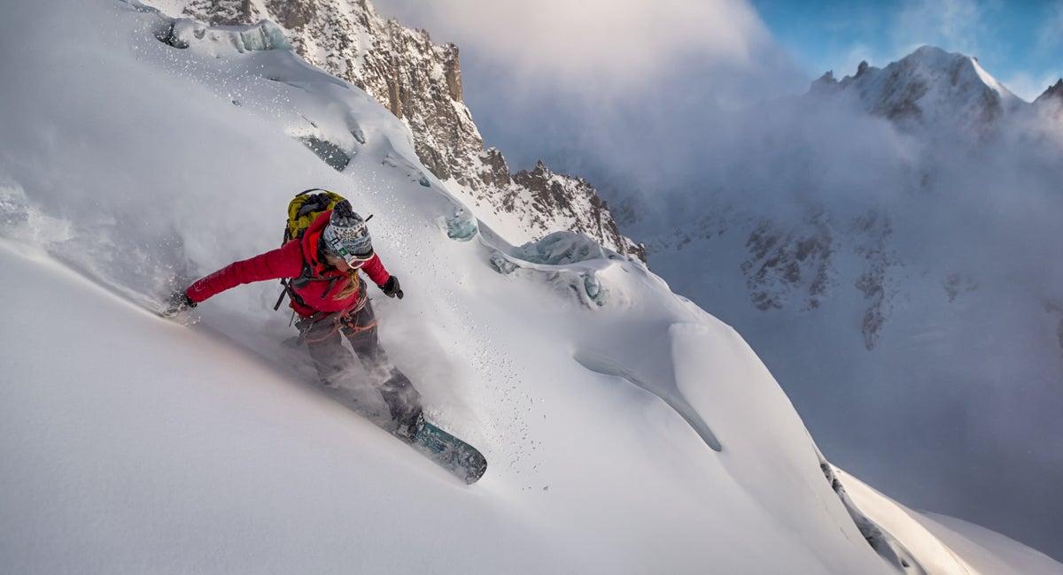 Patagonia female puffy jacket snowboard splitboard splitboarding woman