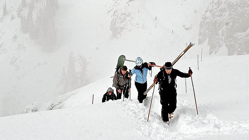 ski skiing hike hiking backcountry back country jhmr headwall snow winter jackson hole mountain resort