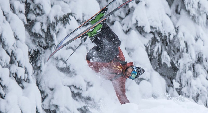 Auclair shows off a 360 handplant in Mustang Powder, B.C.