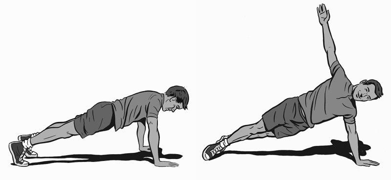 Plank-roll push-up.