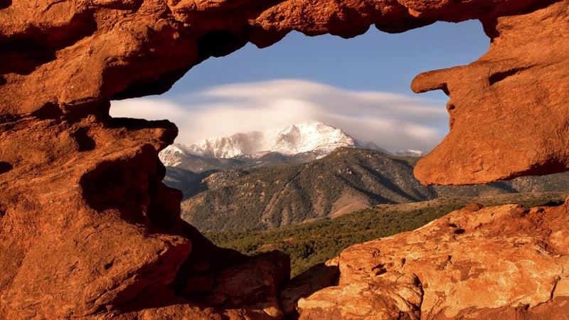 OutsidOnline best towns high-altitude running Colorado Springs rock formation Pikes Peak mountains
