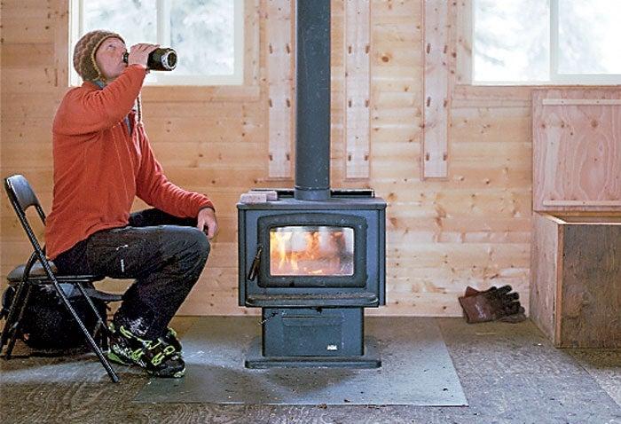 Brian Hall at the Hankin-Evelyn warming hut.