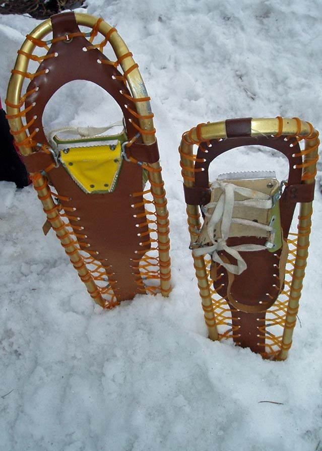 A pair of Sherpa snowshoes in their natural habitat
