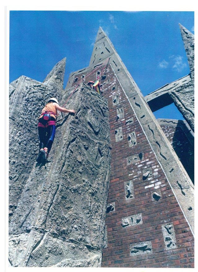 An early man-made climbing wall