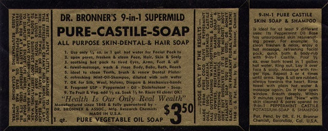 The first Dr. Bronner's packaging