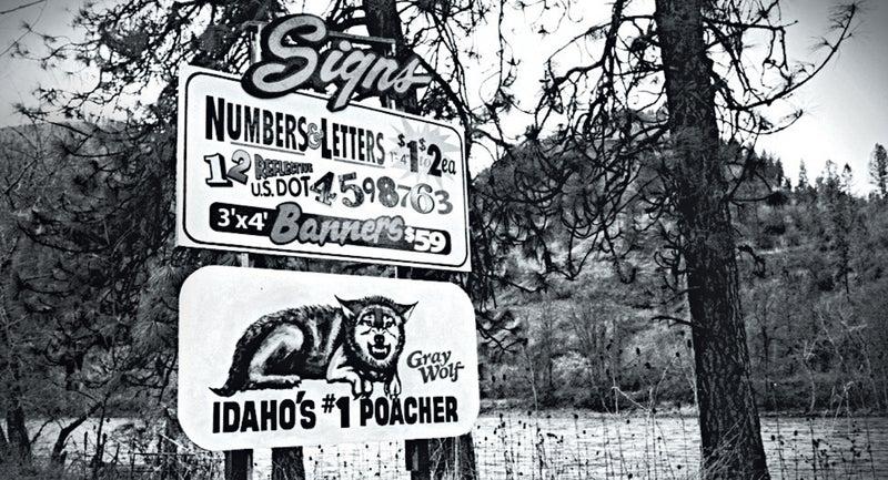 An anti-wolf sign near Kamiah, Idaho.